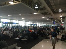 Crowded departure hall