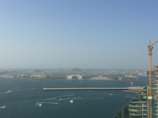 Opposite side with Skydive Dubai landing strip and Palm Island