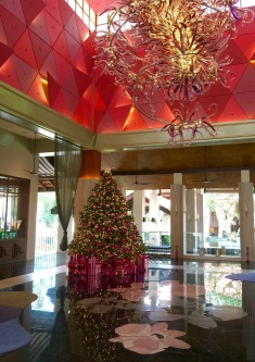 Christmas decorated lobby