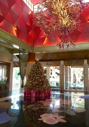 Christmas decorated lobby