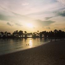 Romantic sunset over Palawan beach