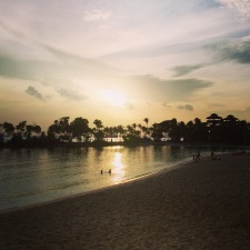 Romantic sunset over Palawan beach