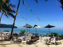 Beach directly by the restaurant