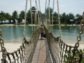 Suspended bridge onto one of the island