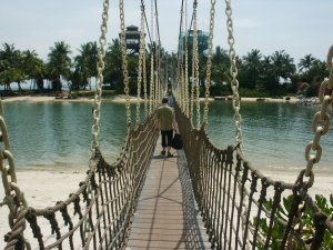 Suspended bridge onto one of the island