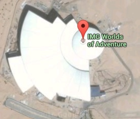 Satellite image detail with rollercoaster in right corner