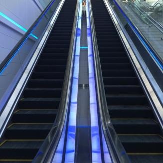 "Escalator towards ""restaurant"" floor"