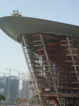 Pillars supporting the facade