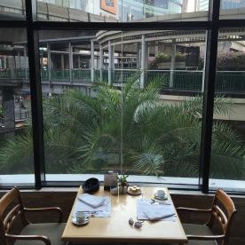 Breakfast with Skytrain walkway view