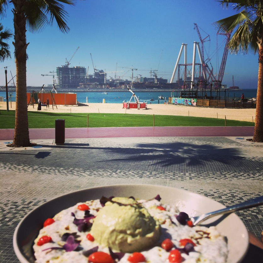 Chia seed and yogurt pudding with pumpkin sees ice cream and the Dubai Eye view