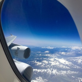 View over the Alps and mighty Rolls-Royce engines