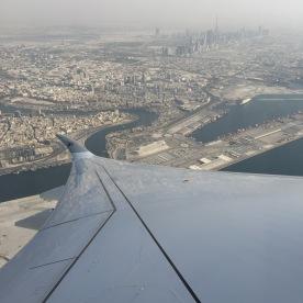 Left turn towards Doha with nice view of Dubai downtown