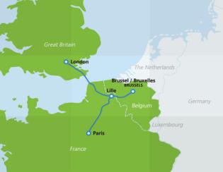 Map of Eurostar destinations