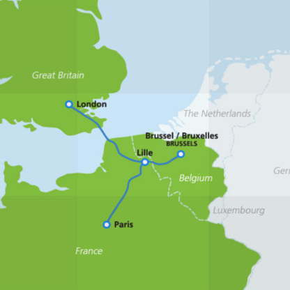 Map of Eurostar destinations