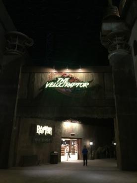 Velociraptor rollercoaster entrance