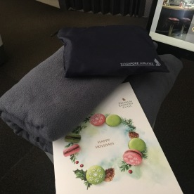 Blanket, Menu and Amenity Kit ( socks and toothbrush )